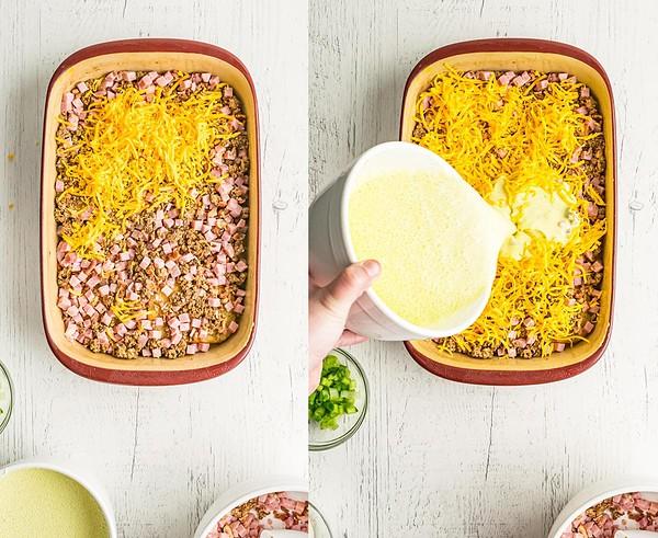 Assembling hash brown breakfast casserole