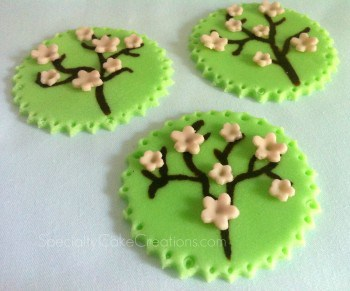 Green Fondant with Cherry Blossoms