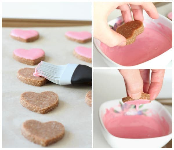 Glazing Valentine's Heart Cookies