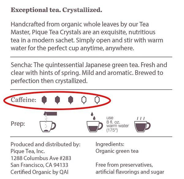 Pique Tea Package Information