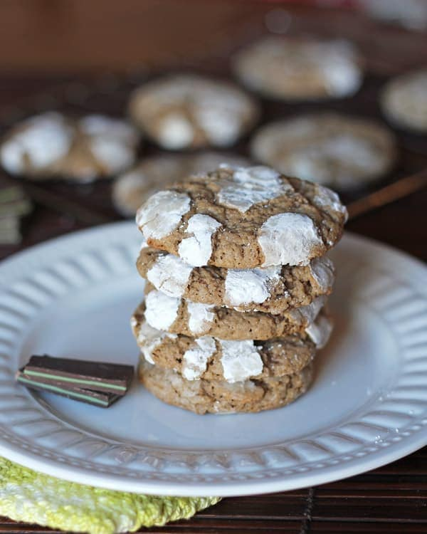 Mint Chocolate Crinkle Cookie Stack