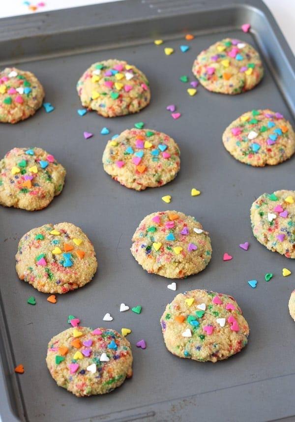 Funfetti Cookies on Baking Sheet