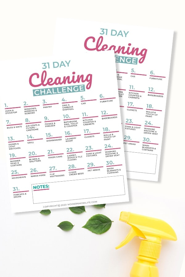 Spring cleaning calendar