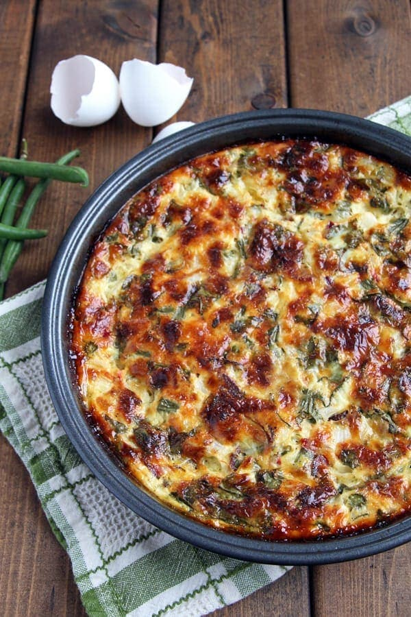 Crustless Quiche with Green Beans