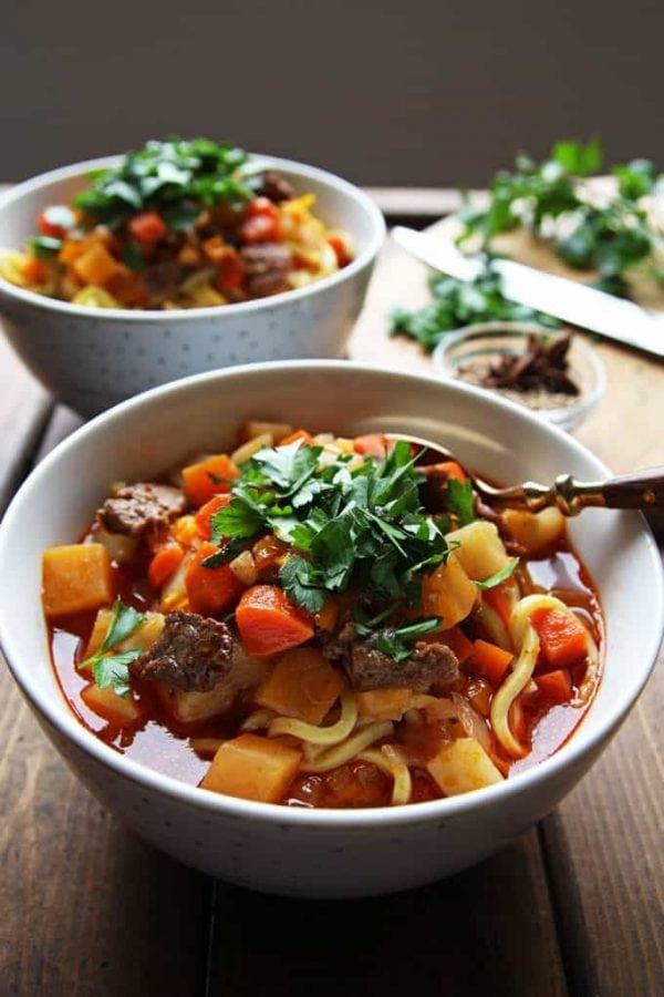 Bowl of Lagman Uzbek Soup
