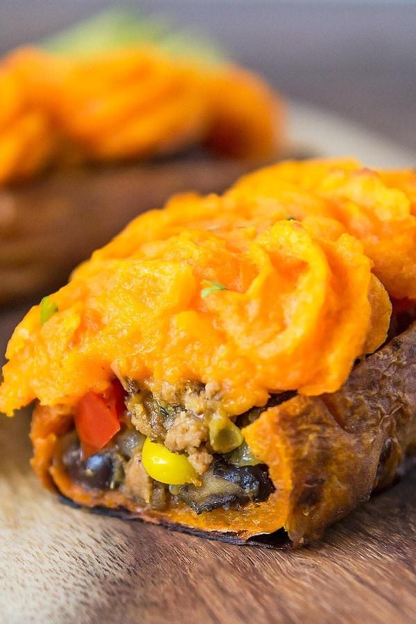 Stuffed shepherd's pie sweet potatoes