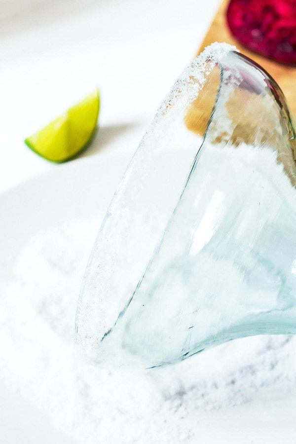 Adding salt rim to margarita glass