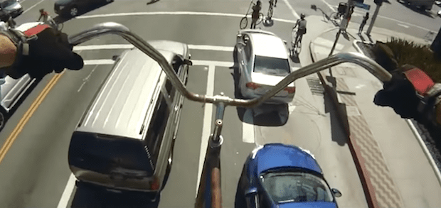 View from a ride on the world's tallest bike