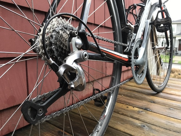 Closeup of a bicycle's gears and drivetrain