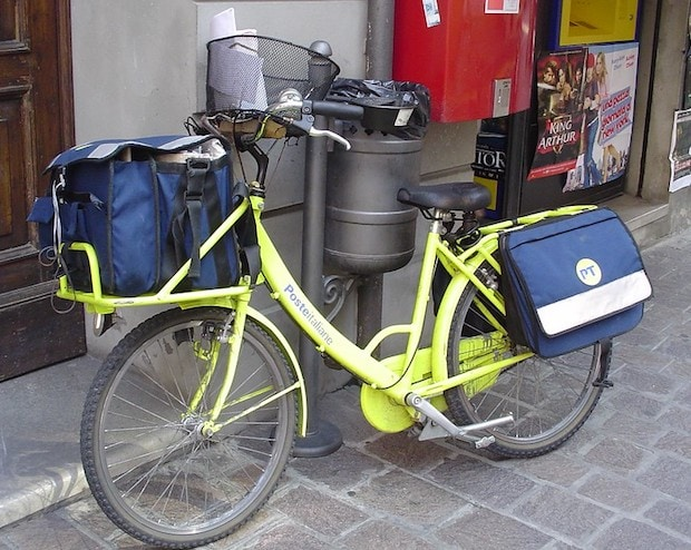 A postman's bike in Italy, with a step-through frame