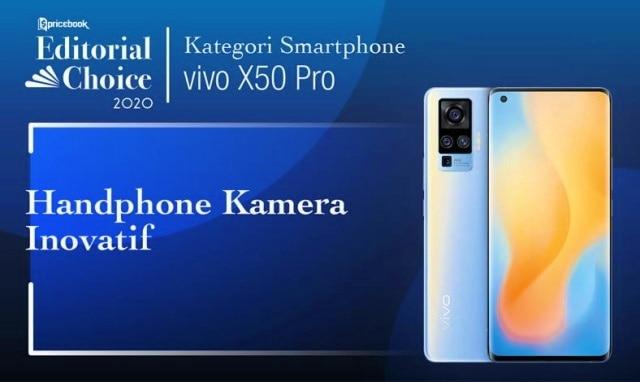 Rekomendasi Pricebook kategori Smartphone Kamera Inovatif adalah Vivo X50 Pro