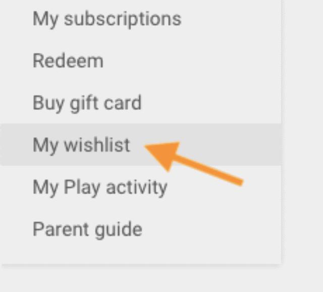 wishlist apps google play store