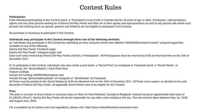 Contest Participation Rules