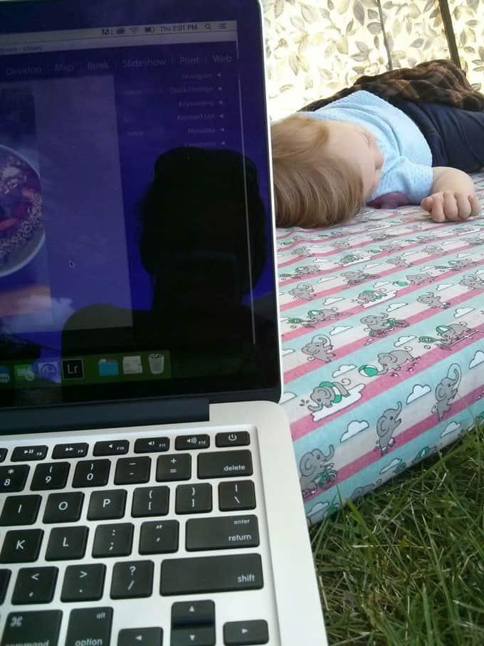 Laptop and Child Sleeping