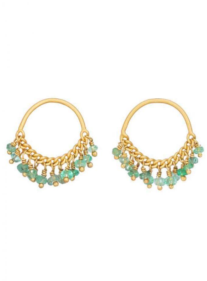 Emerald and Gold Loop Stud Earrings