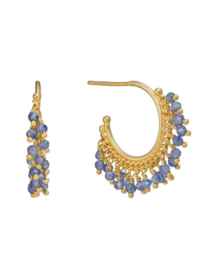 Photo of a pair of sapphire beaded hoop earrings