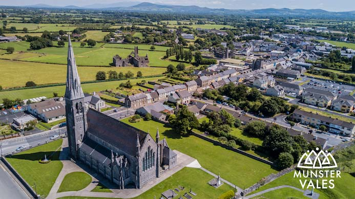 Munster Vales Ireland Travel Guide. Aerial photograph of Munster Vales and the green fields and local towns. Kilmallock Travel Guide
