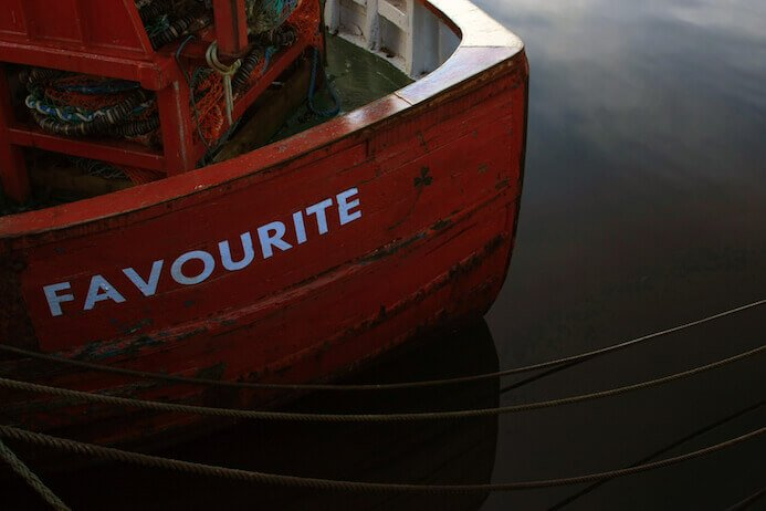red wooden boat in donegal ireland