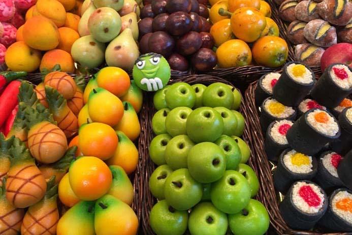 La Boqueria Food Market in Barcelona marzipan fruit on a stall