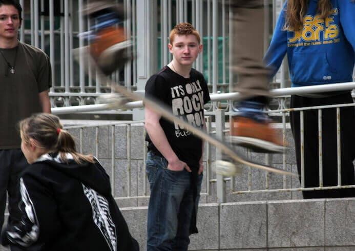 kids skateboarding on the streets of dublin ireland