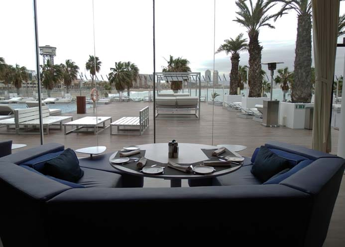 W Hotel Barcelona review interior photo of the Wave area