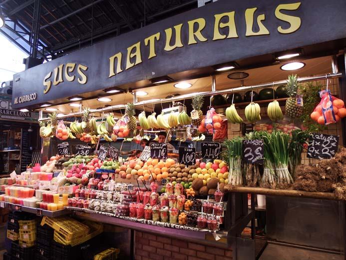 La Boqueria Food Market in Barcelona fruit juice stall