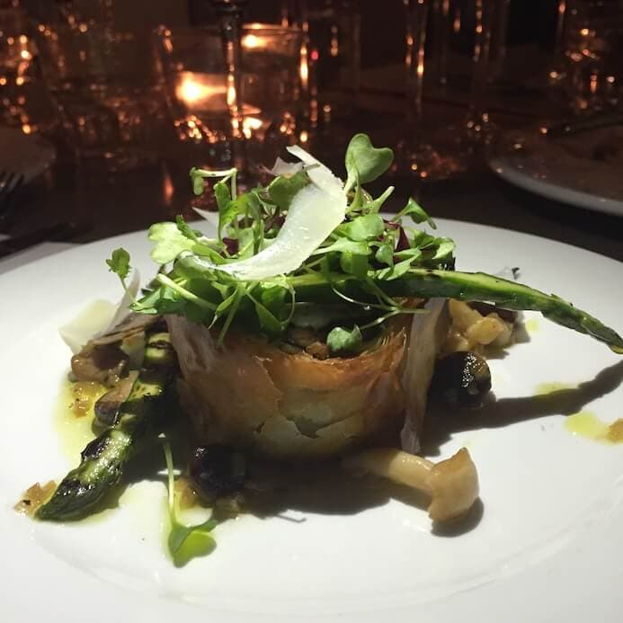 A hearty dish of wild mushroom filo pie with grilled asparagus and Spring truffle from Coppinger Row in Dublin