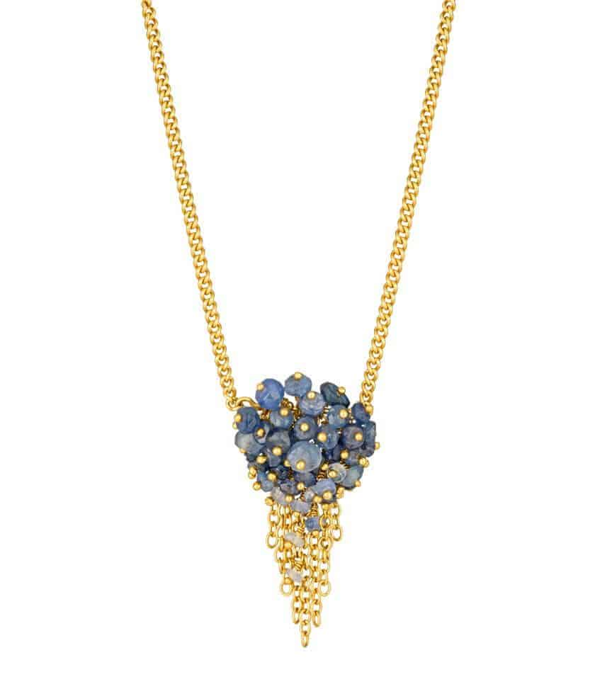 Sapphire and Gold Tassel Pendant Necklace