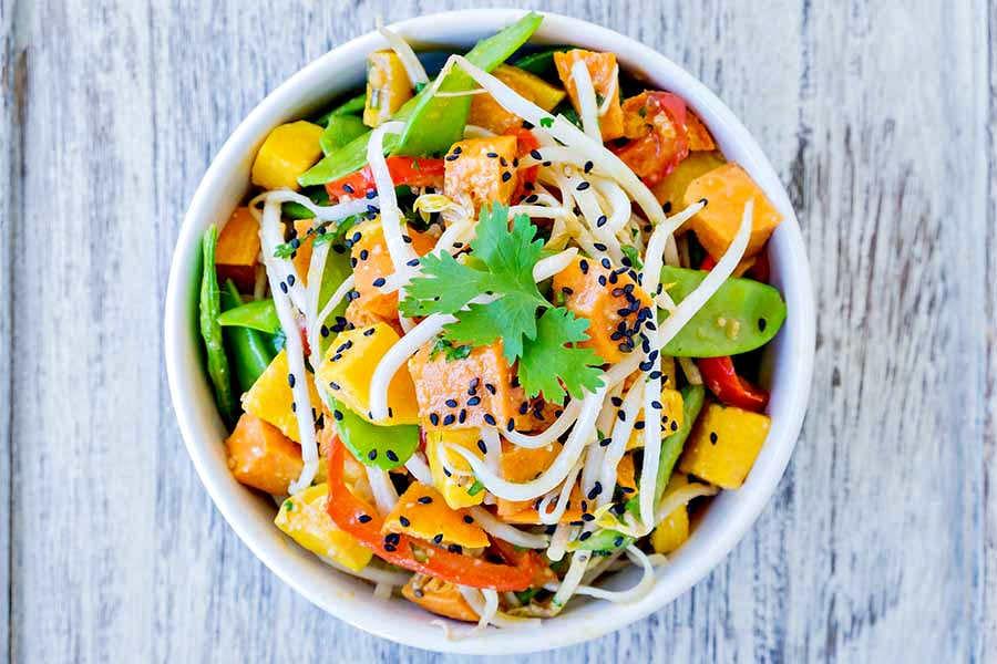 noodles roasted veggie salad gluten free
