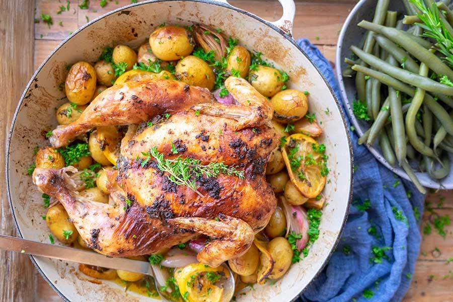 roasted chicken, skillet