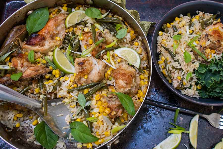 honey garlic chicken with coconut rice