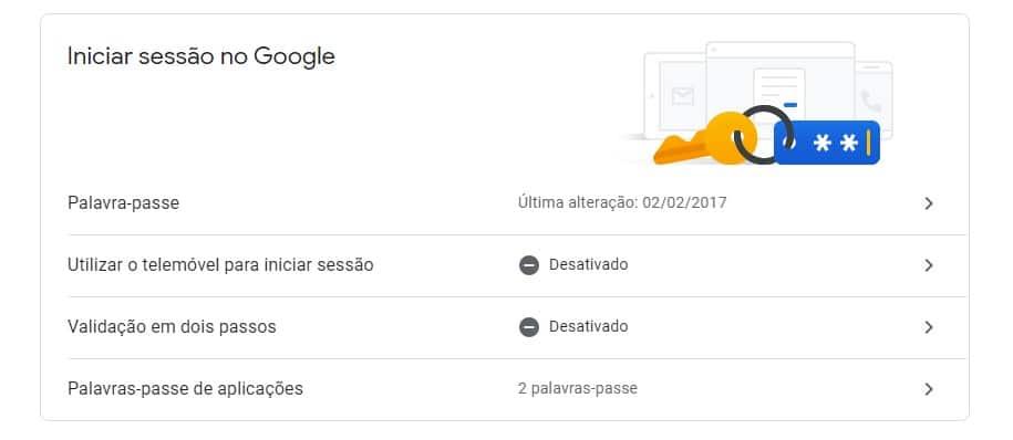 Conta Google entrar