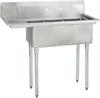 6. Fenix Sol 18G-3C10X14-L12 Three Compartment Stainless Steel Sink