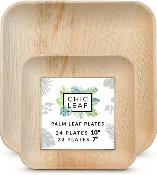 2. Chic Leaf Palm Leaf Plates Disposable Bamboo Plates
