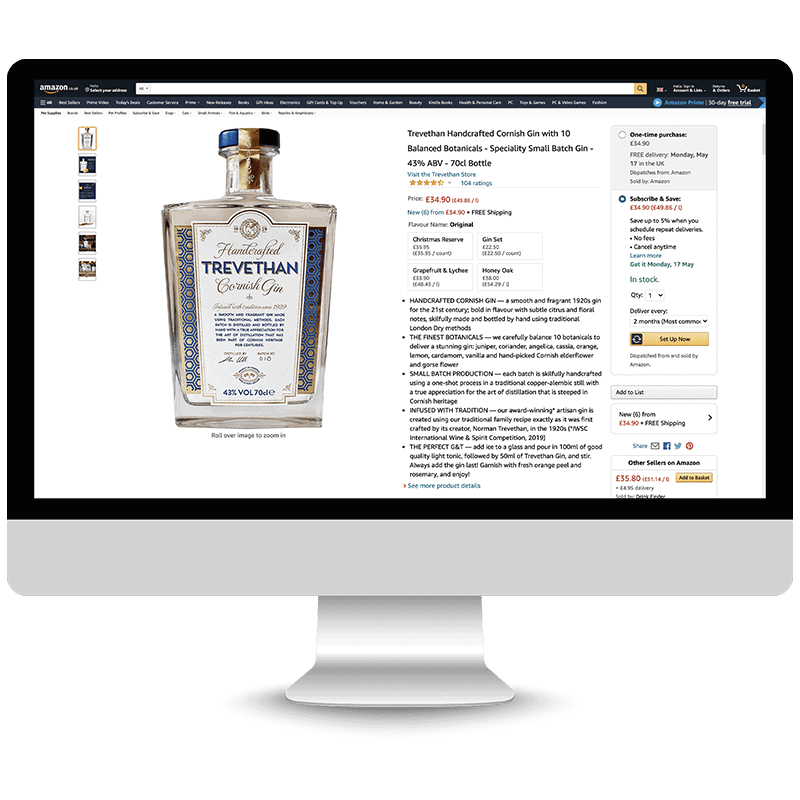 Trevethan Gin Amazon Product Launch Service by marketplace amp