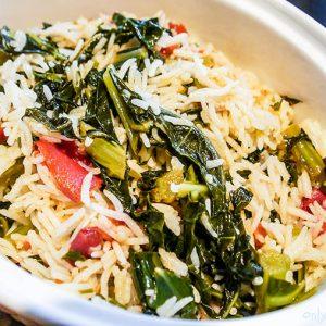 Collard Greens Tomato and Garlic Rice