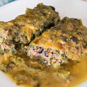 Beef and Black Bean Enchilada Kale Rolls