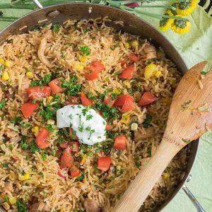 30-Minute One Pot Cheesy Chicken Taco Rice