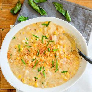 Fresh Corn Potato & Leek Chowder (Gluten-Free)