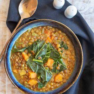 Instant Pot Mediterranean Lentil & Collard Soup