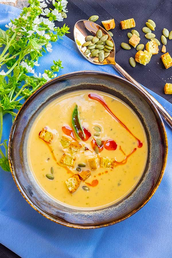 Instant Pot Buffalo Sweet Potato Soup {Vegan, Whole30, Paleo, Gluten-Free}