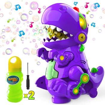 10. WisToyz Bubble Machine Dinosaur Bubble Blower