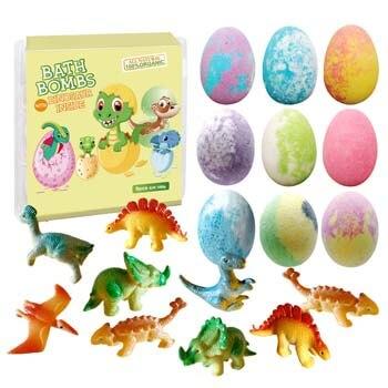 5. Clear and Fresh Dino Egg Bath Bomb Gift Set with Dinosaur Inside