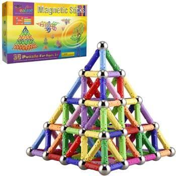 3. Veatree 150 Pcs Magnetic Building Sticks Blocks Toys