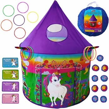 10. Playz Unicorn Toys Kids Play Tent for Girls