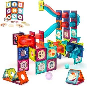 8. VATOS 125 PCS Magnetic Tiles, Magnetic Building Blocks