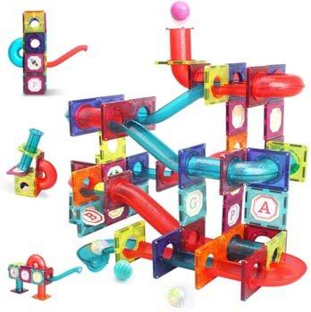 4. LUKAT Magnetic Tiles, 125 Piece Pipe Magnetic Blocks