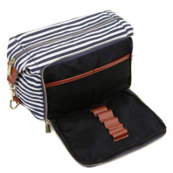 7. BAOSHA XS-04 Canvas Travel Toiletry Bag Shaving Dopp Case Kit for Women and ladies (Blue)