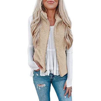 5. LOMON Women's Fuzzy Sherpa Fleece Vest