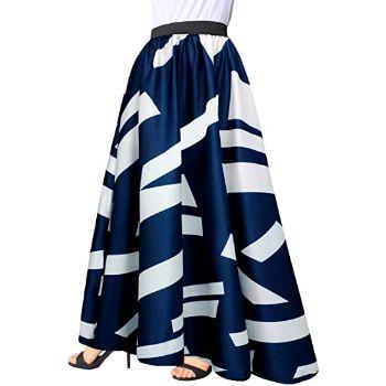 8.Afibi Women Chiffon Mopping Floor Length Big Hem Solid Beach High Waist Maxi Skirt